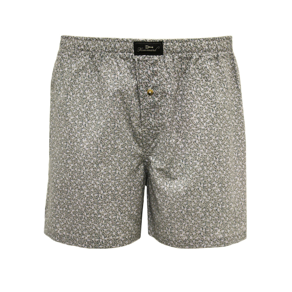 Taupe Flower Men´s Woven Cotton Boxer Shorts - Hommard