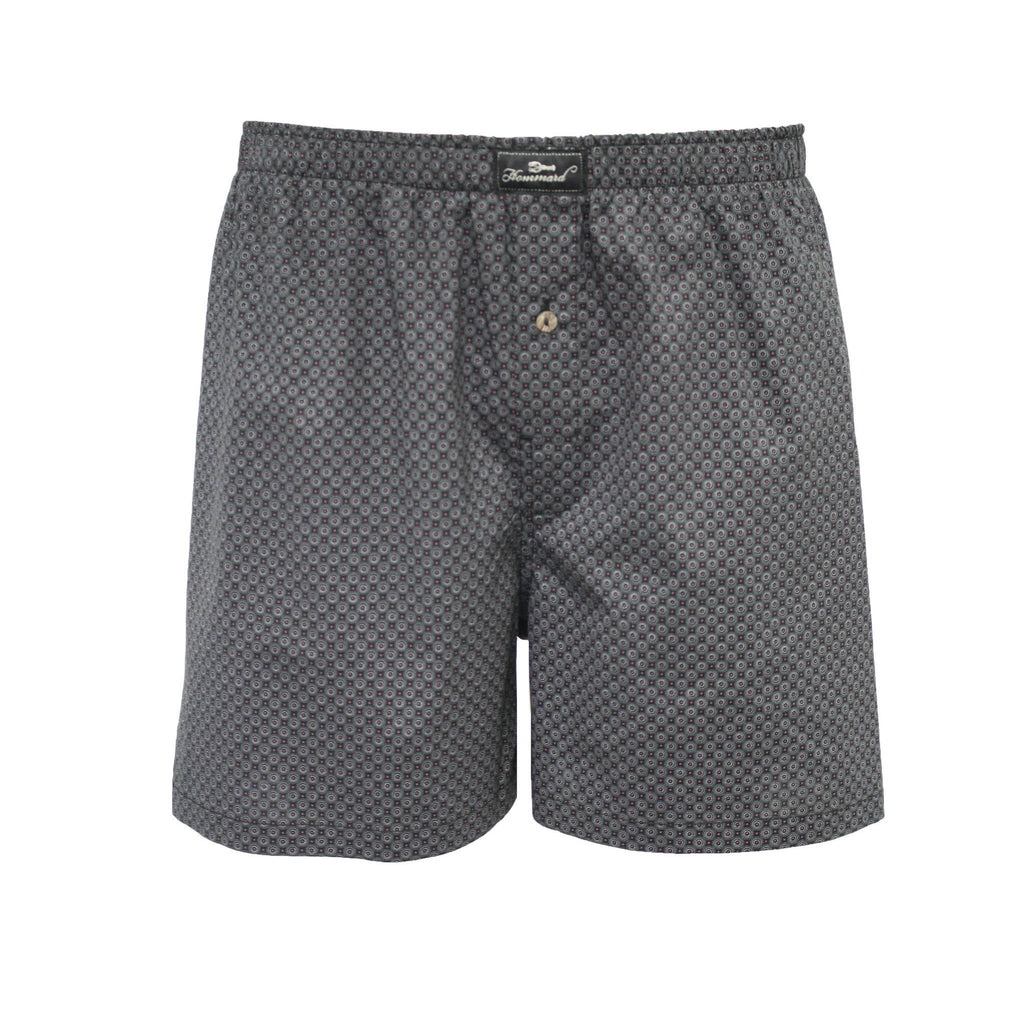 Navy Red Dot Men´s Woven Cotton Boxer Shorts - Hommard