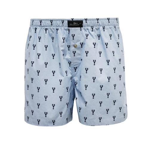 Blue Lobster design Men´s Woven Cotton Boxer Shorts
