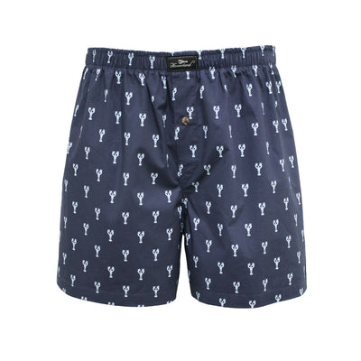 Navy Lobster design Men´s Woven Cotton Boxer Shorts - Hommard