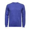 Royal Blue Men´s Cashmere Crew Neck Cable Sweater - Hommard