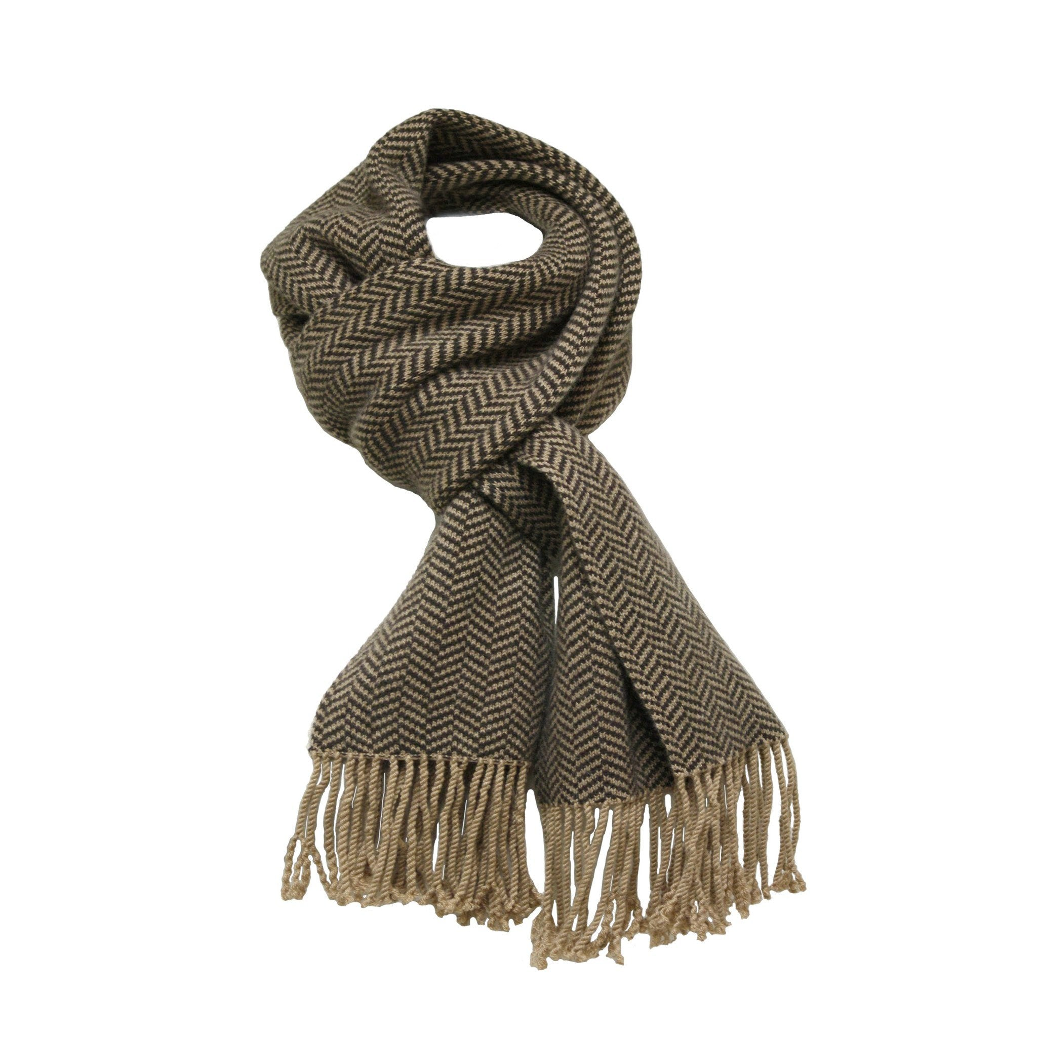 Men´s Cashmere Herringbone Scarf Brown Camel