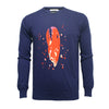 Navy Crew Neck Lobster Claw Intarsia - Hommard