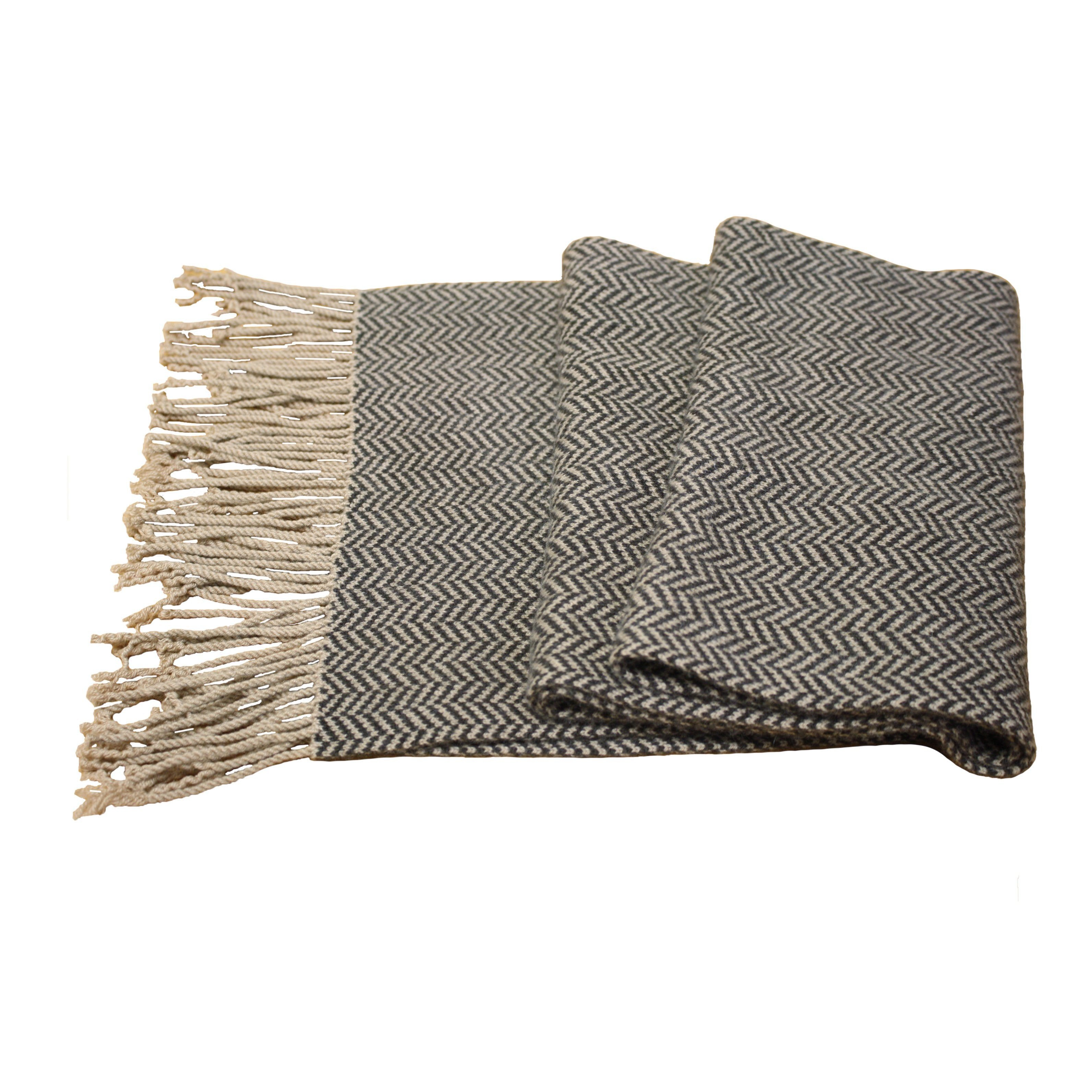 Men´s Cashmere Herringbone Scarf Brown Camel flat