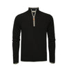 Men´s Cashmere black Zip Neck Sweater Verbier in pique stitch - Hommard