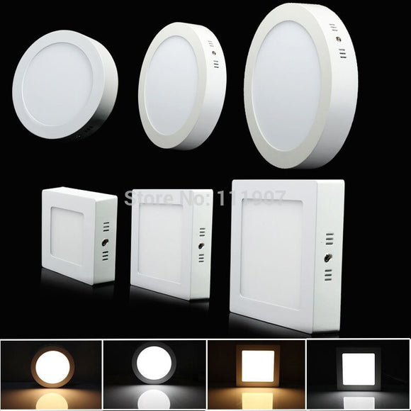 Surface Mounted LED Ceiling Panel Light Round Square Warm/Cold Ceiling Lamp 9W 15W 25W Dimmable