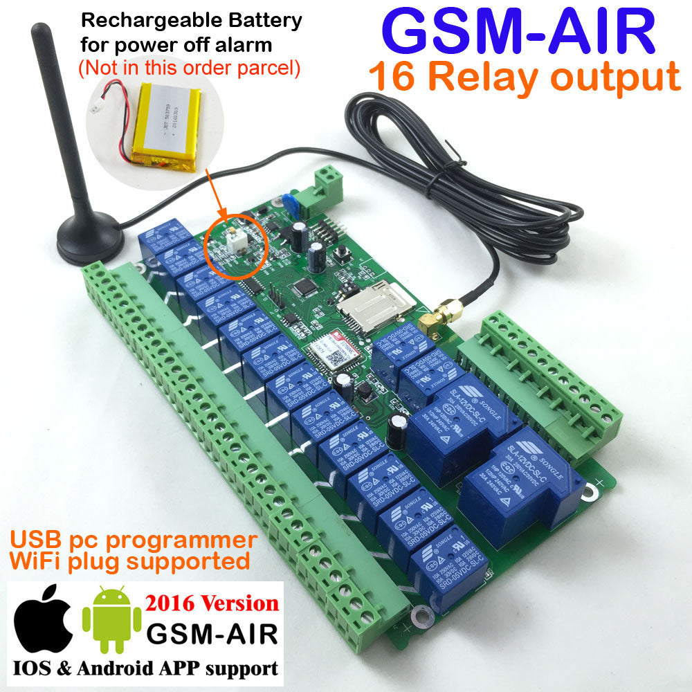 Gsm Controller 16 Output Relay Sms Call Remote Control Switch For Gate