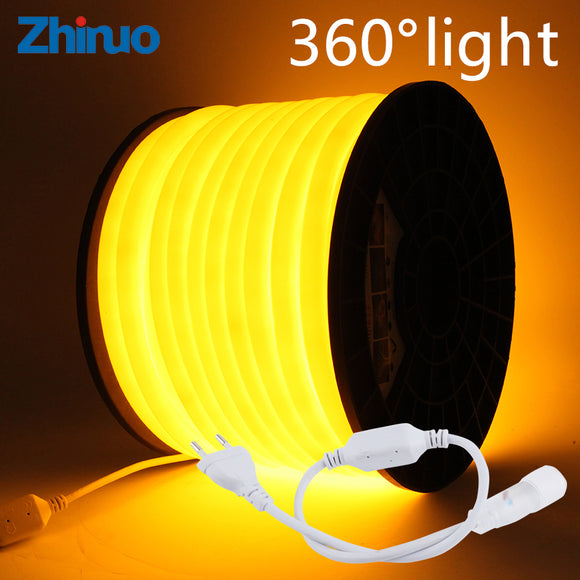 360 Degree LED Strip AC220V Round Two-wire Flexible Neon Lights Soft Wire IP65 Waterproof 120LEDs/Mtr. Flexible LED Light Outdoor