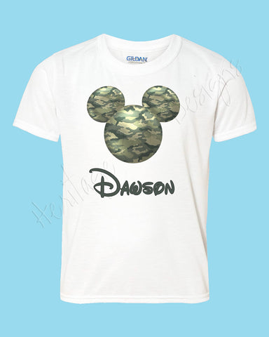 Personalized CAMO mouse ears Icon Army Disney shirt - FREE personalization!