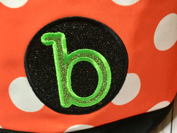 Halloween glitter monogram tote with embroidered name