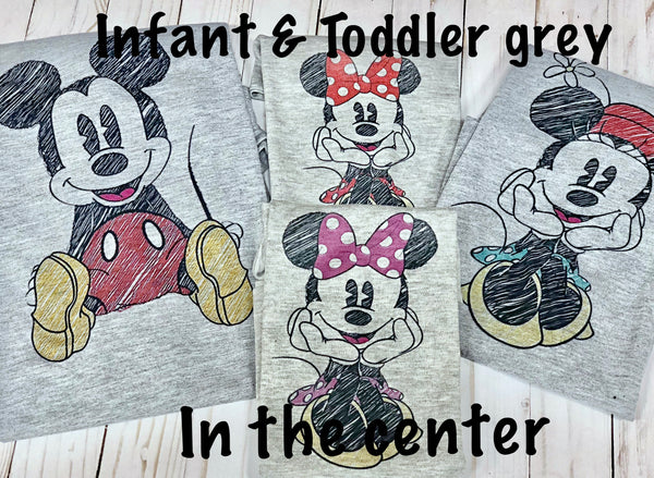 Christmas Mickey or Minnie Sketch shirts with personalization