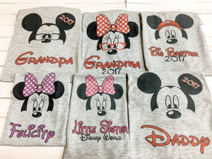 Baby and Toddler WHITE Mouse Family Disney t-shirts with FREE personalization