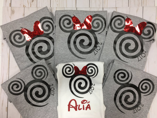 Red glitter bow Mickey Minnie Swirl shirt with date and FREE personalization