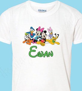 Personalized Mickey & Minnie friends shirt with Donald, Daisy, Pluto and Goofy Icon