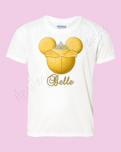 Personalized Disney princess shirt - Belle Mouse Icon ears