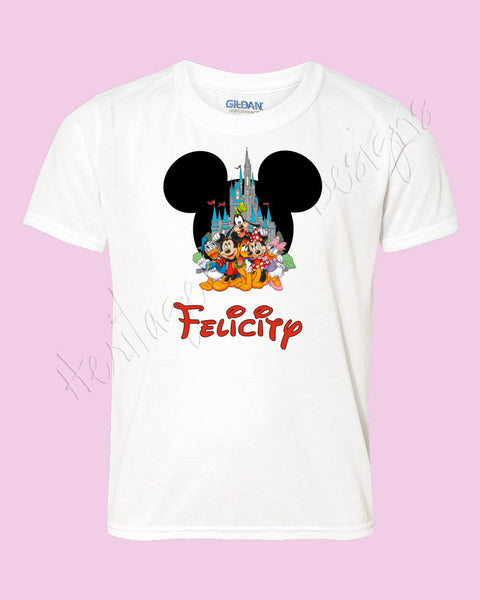 Personalized Mouse ears with Disney friends and castle shirt Icon