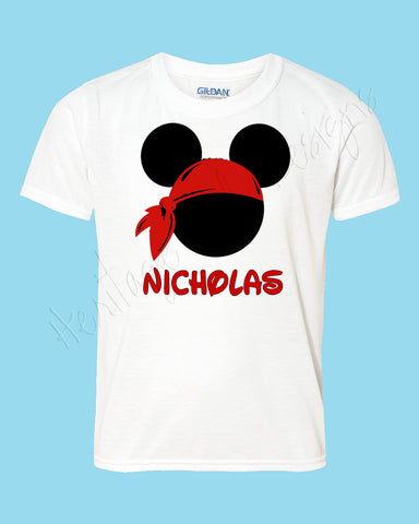 Personalized Mickey Pirate Bandanna Disney Mouse Ears Icon Shirt