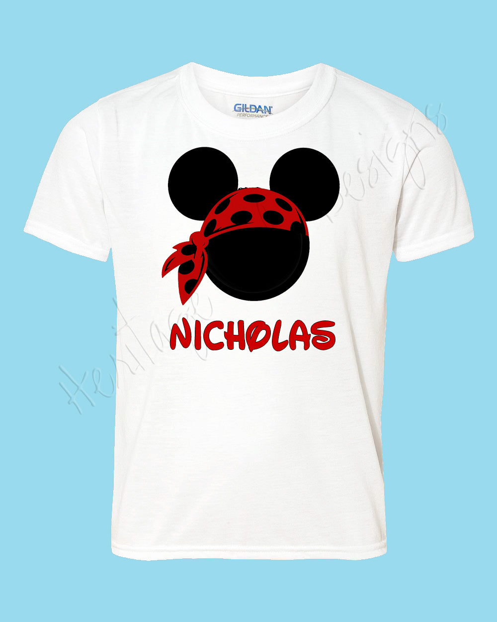 Personalized Mickey Pirate DOTTED bandanna Disney mouse ears Icon Disney shirt - FREE personalization!