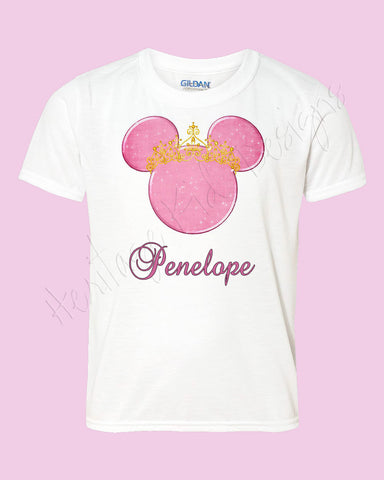 Personalized Minnie princess crown Disney mouse ears Icon Disney shirt - FREE personalization!