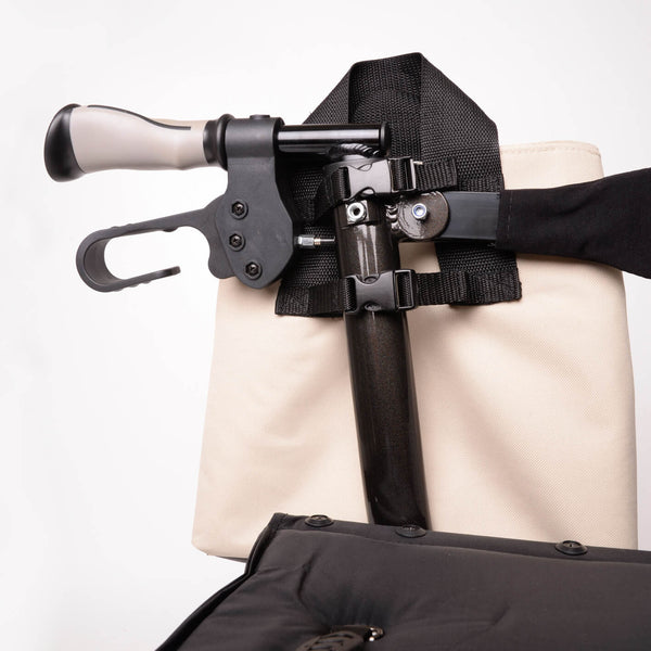 designer rollator bag attachment system