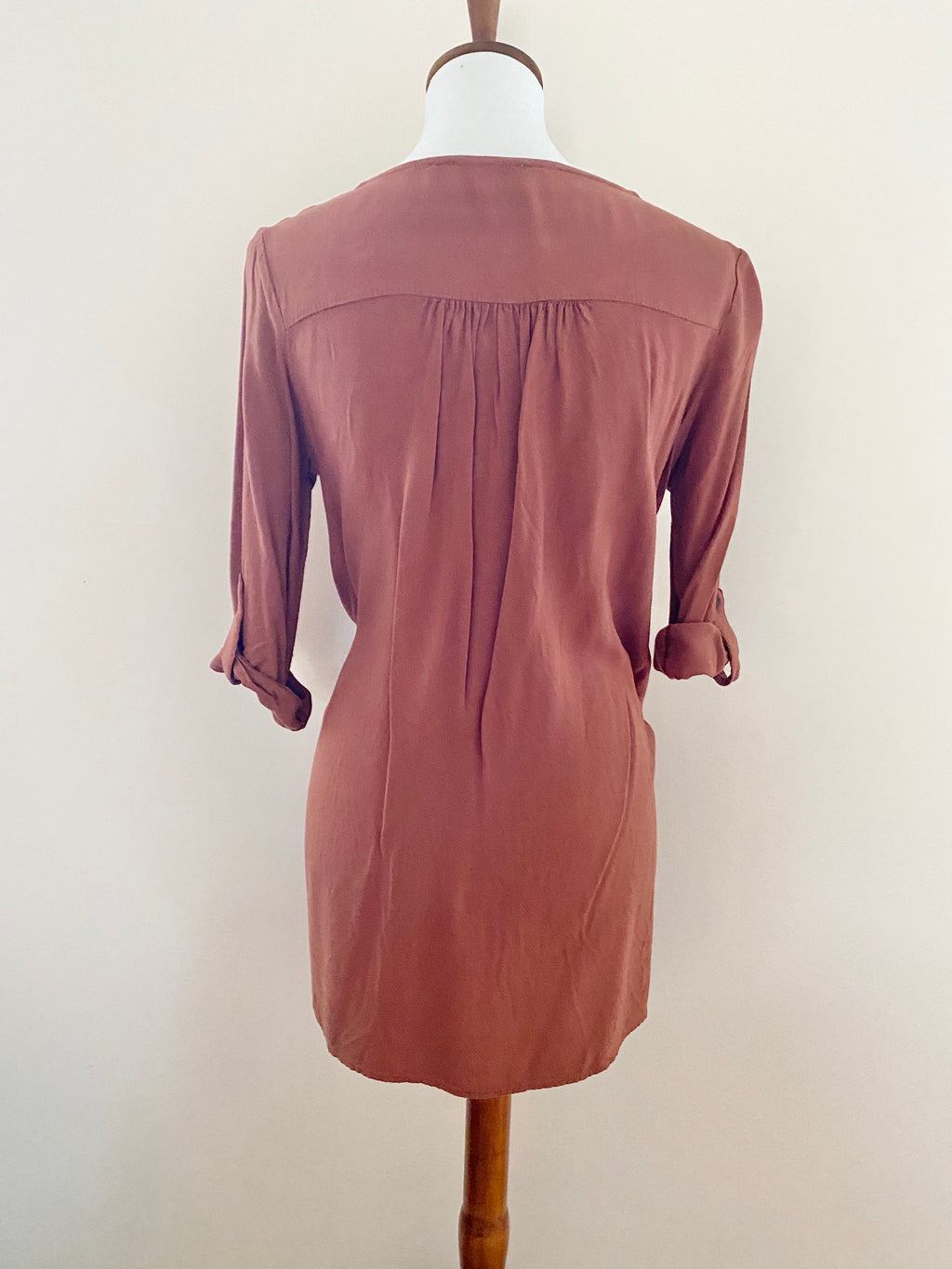 Rust Dress w/ Pockets & Roll-Up Sleeves