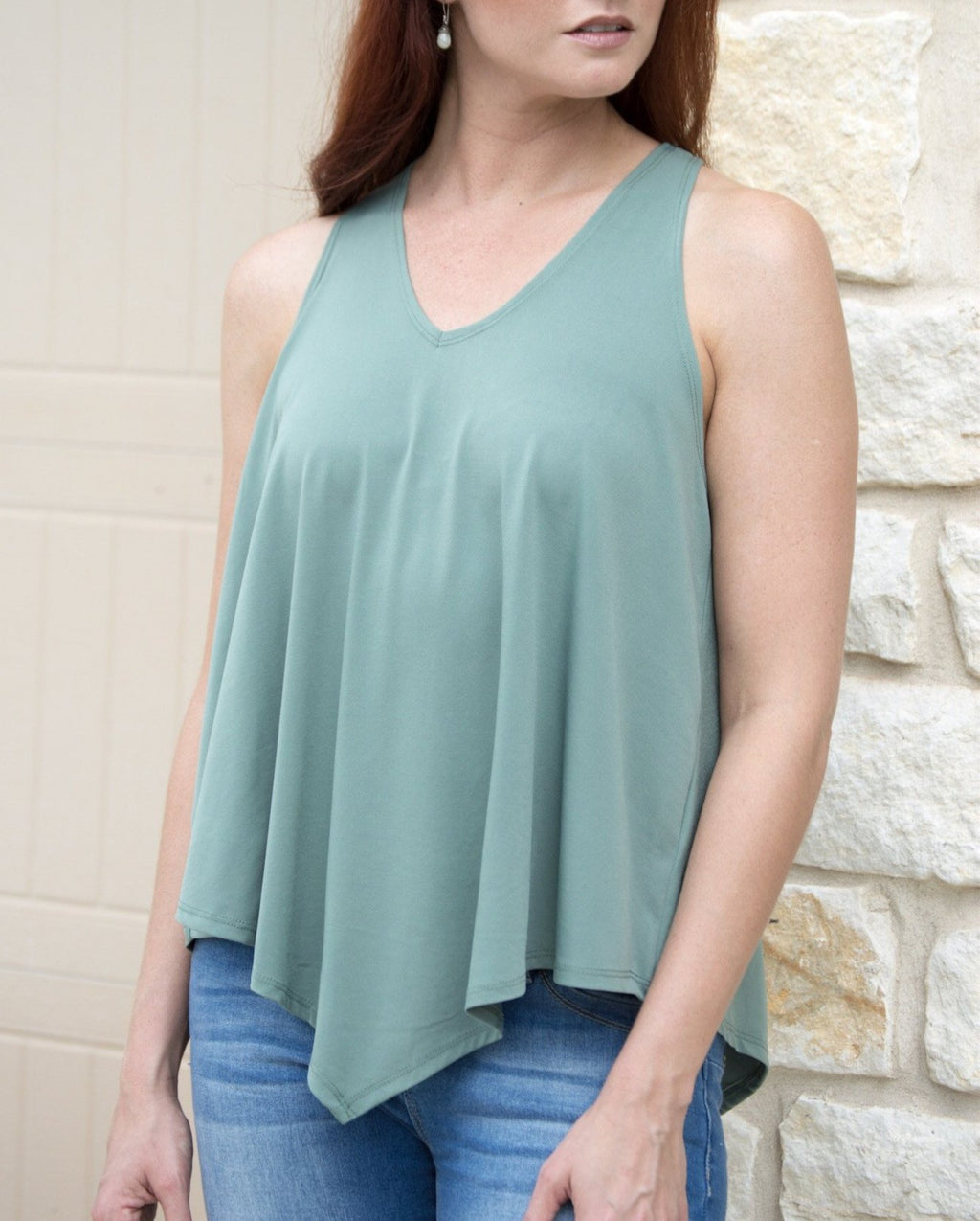 Pleaded Back Tank Top - Olive