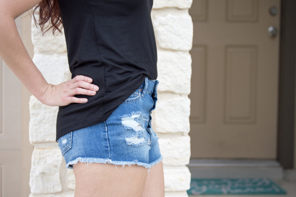Distressed Button Up Shorts