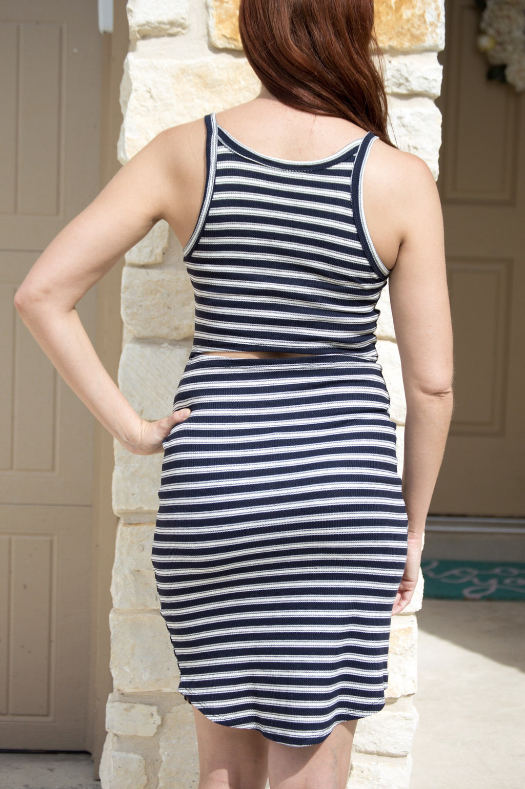 Spaghetti Ribbed Dress - Navy/White Stripes