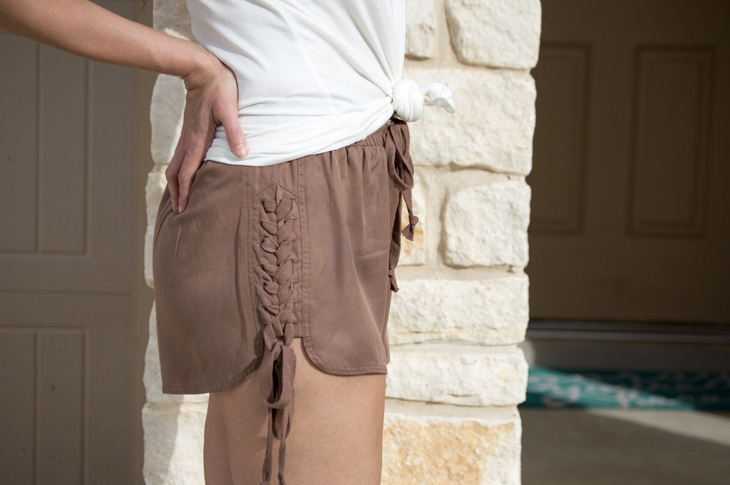 Braided Lace Up Shorts - Mocha