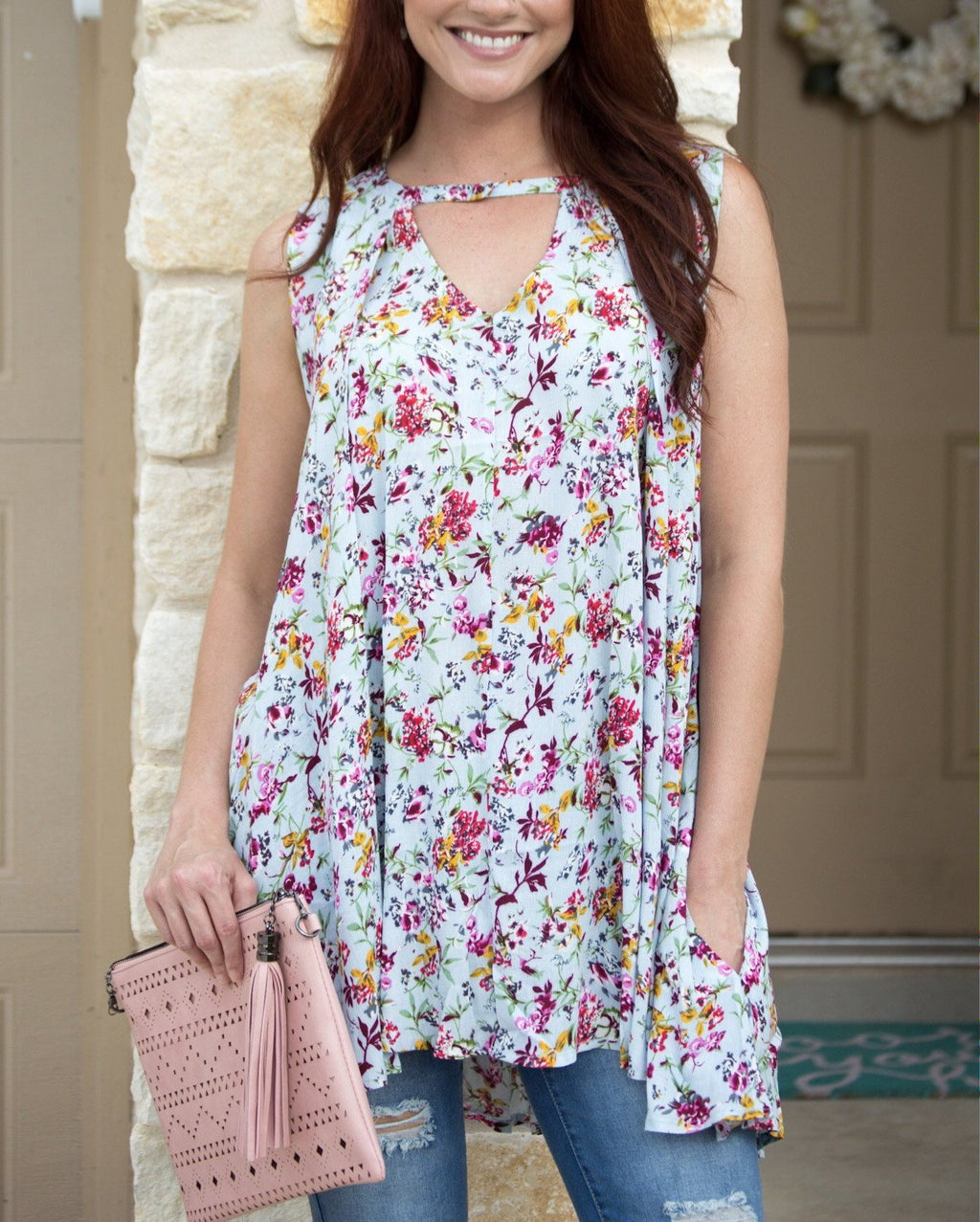 Floral Sky Blue Tunic