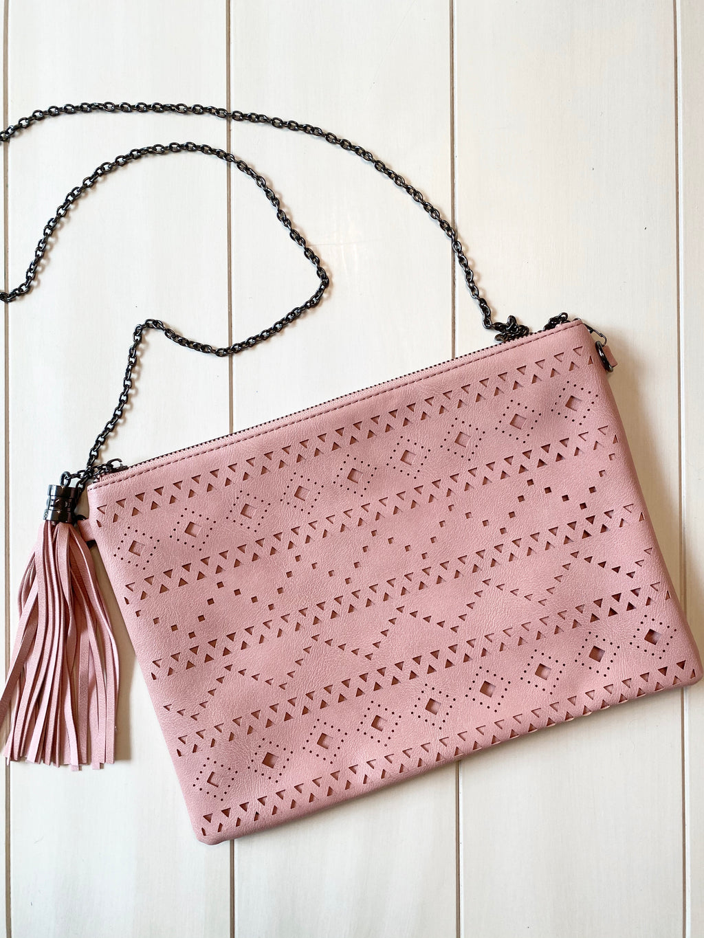 Laser Cut Clutch - Blush