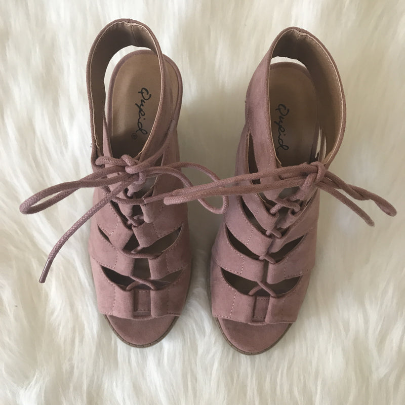 Lace Up Heels - Mauve
