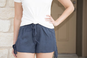 Braided Lace Up Shorts - Navy