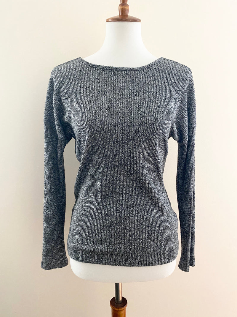 Grey Back Lace-Up Sweater