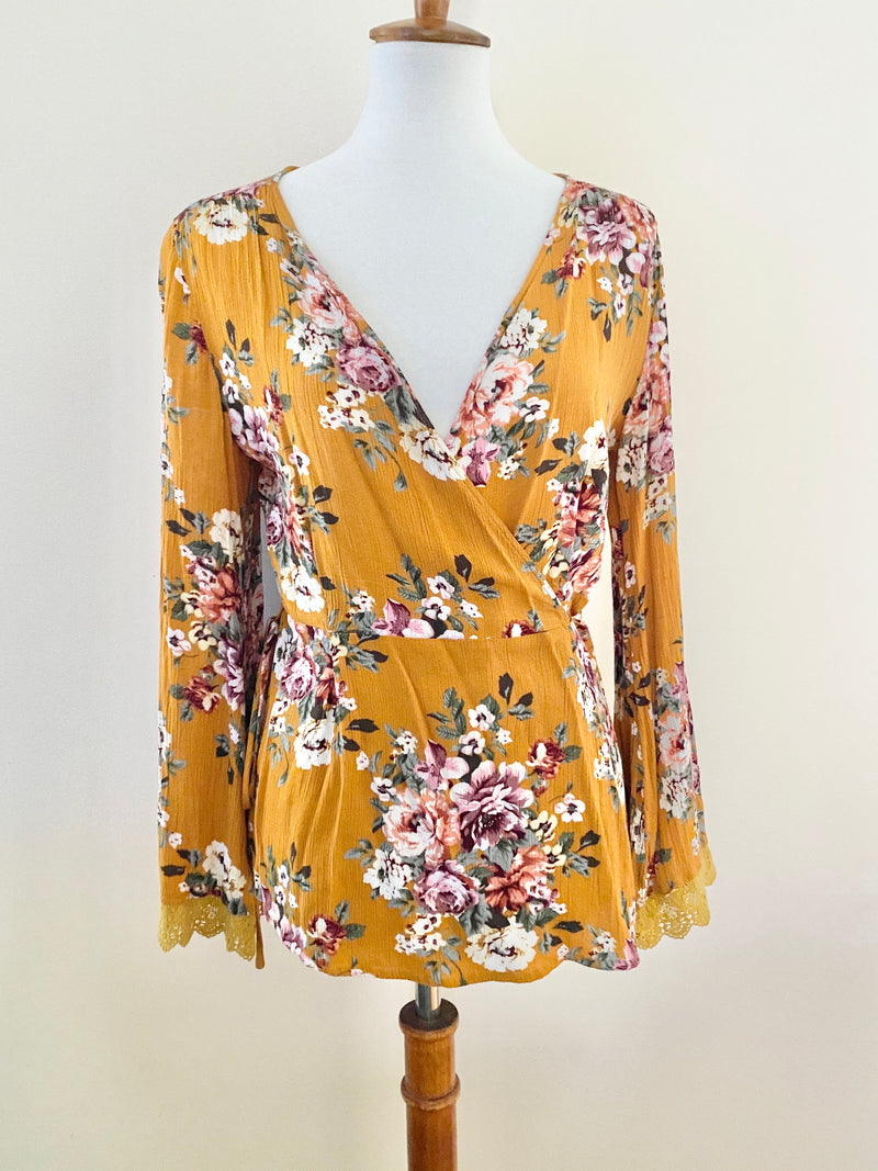 Floral Mustard Bell Sleeve Wrap Around Top