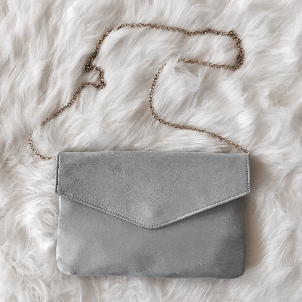 Suede Grey Clutch
