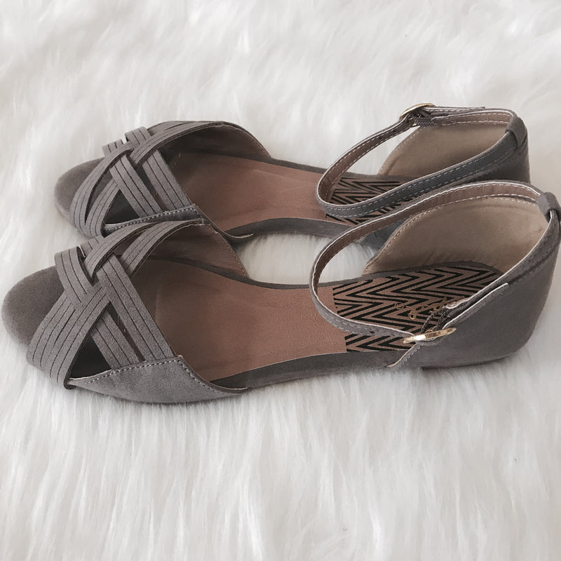 Criss Cross Anklet Sandals - Taupe