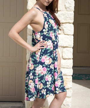 Floral Halter Navy Blue Dress