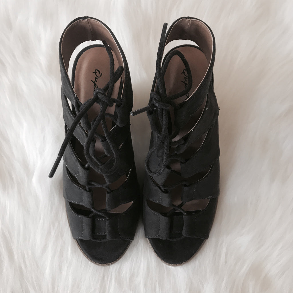 Lace Up Heels - Charcoal