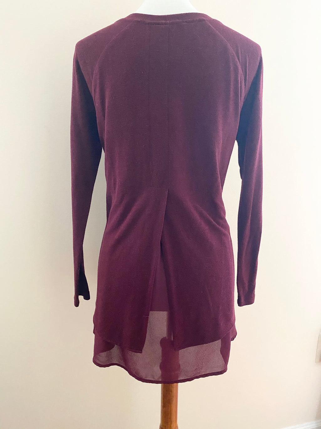 Wine Chiffon Open Back Top