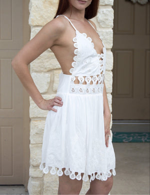 Embroidered Trim Dress - White