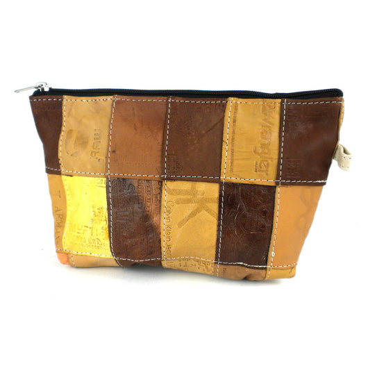 Leather Reclaimed Label Pouch