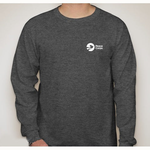 Peace Corps Unisex Long Sleeved Tee in Black Heather - The National Peace Corps Association