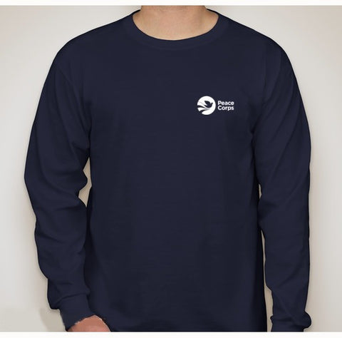 Peace Corps Unisex Long Sleeved Tee in Navy - The National Peace Corps Association