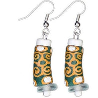Recycled Glass Adinkra-Strength Earrings in Green