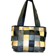 Upcycled Checkered Seat Belt Handbag