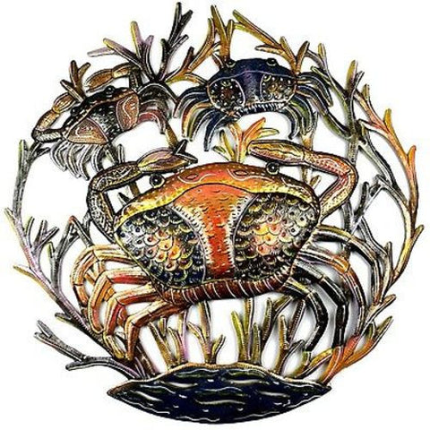 24-Inch Painted Crabs Metal Wall Art - The National Peace Corps Association