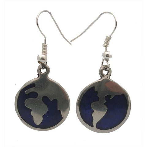 Alpaca Silver Inlaid Earth Earrings - The National Peace Corps Association