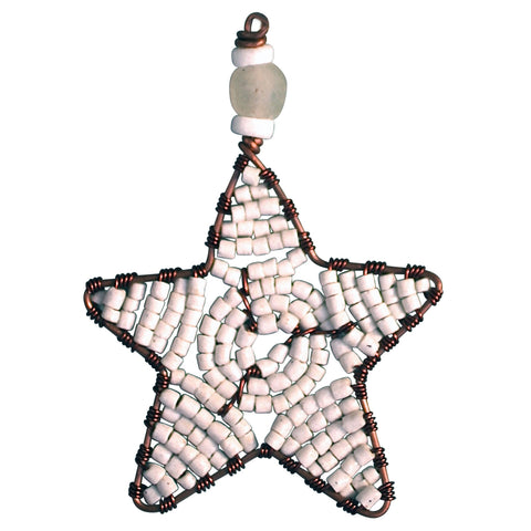 Beaded Star Ornament White - The National Peace Corps Association