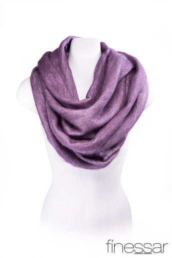 Purple alpaca infinity scarf for women.